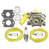 HIPA 308054004 Carburetor + Fuel Line Spark Plug for Ryobi RY09600 RY09701 Leaf Blower RY29550 RY30530 RY30550 RY30570 RY30931 RY30951 RY30971 String Trimmer RY52504 RY52905 Pole Pruner