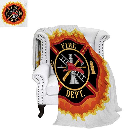(warmfamily Fireman Velvet Plush Throw Blanket Fire Department Icon with Ladder Public Service Essential Tools of Firefighters Throw Blanket 50