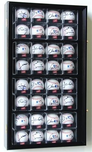 Acrylic Baseball Cube - 32-Baseball Arcylic Cubes Display Case Cabinet, Black
