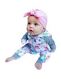 Staron     Girls Hoodie Clothes Baby Floral Print Long Sleeves Tops+Pants Outfit Set