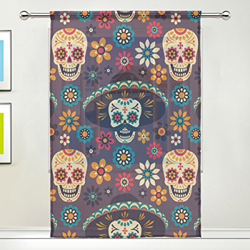 Grateful Hoodie Bear Costumes Purple Dead Teen (Sugar Skull Dia De Los Muertos Window Sheer Curtain Panels, 55x84 inch, Gauze Curtain for Living Room Bedroom Home)