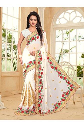 Da Facioun Saris Indiens Pour Les Femmes Portent Partie Concepteur De Mariage Blanc Traditionnel Sari Ethnique 23