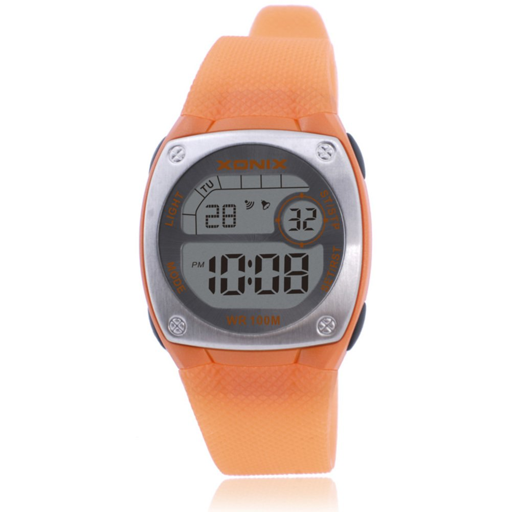 Children's multi-function digital electronic watch,Square jelly led 100 m waterproof resin alarm stopwatch dual time girls or boys fashion wristwatch-B