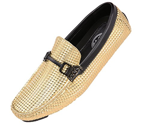 Amali Men's Studded Embossed Driver With Matte Black Buckle, Nightclub Loafer Driving Shoe, Style Mert