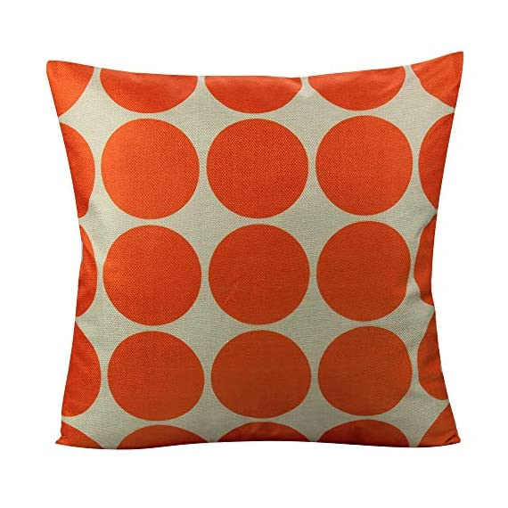 All Smiles Outdoor Patio Throw Pillow Covers Cases Indoor Furniture Decorative Cushion 18x18 Set of 4 for Home Porch Chair Couch Sofa Living Room Geometric Orange - Geometry: Zig Zag,Stripes,Circle,Chevrons,Outside Porch Garden Farmhouse Rustic Orange Color Home Décorations for Indoor/Outdoor Furniture Patio Couch Chair Car Seat,;Color:Orange Print on Beige Ground Material: Made of durable cotton blend linen,slightly rough texture,lightweight Qty: 4 pcs covers/Set of 4 (Only pillow case ,inside filler not include,The pattern is only available on the front side, the back side is Soild) - patio, outdoor-throw-pillows, outdoor-decor - 51GZidj1AKL. SS570  -