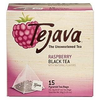 Tejava Raspberry Black Tea Bags, 15 Tea Bags Per Box, Award-Winning Tea, Unsweetened, Individually Packaged Pyramid Bags, 100% Natural