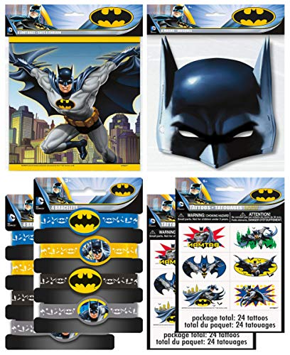 Unique Industries Batman Birthday Party Supplies Favor Pack With Kids Masks, Treat Bags, Bracelets & Tattoos for 8 Guests ()