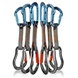 Fusion Climb 6-Pack 11cm Quickdraw Set with Contigua Blue Straight Gate Carabiner/Techno Zoom Orange Straight Gate Carabiner