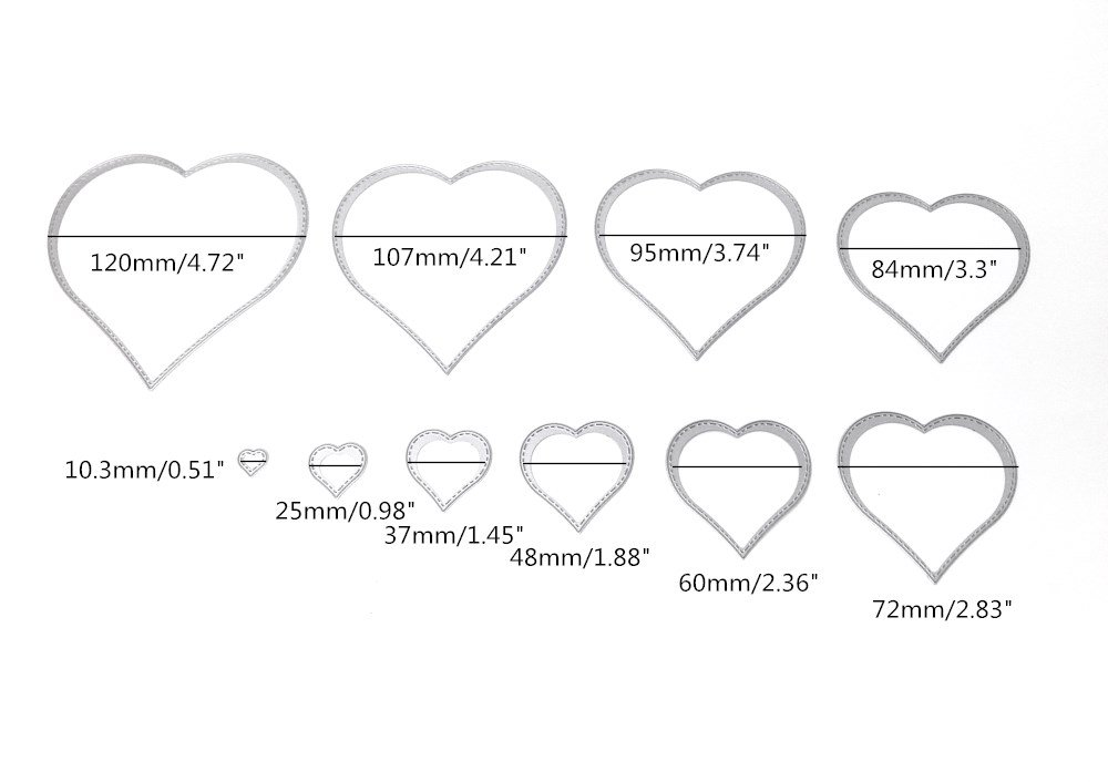 Honbay 10pcs Set Metal Heart Dies Stencils Cutting DIY Scrapbooking Embossing Decor Craft Template Mould