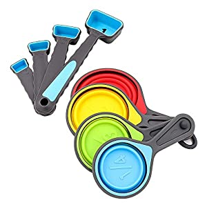 Collapsible Silicone Measuring Cups and Measuring Spoon, Kmeivol Portable Measuring Cups for Liquid & Dry Measuring, Multiple Sizes Collapsible Measuring Cups and Spoons 51GZjM I3QL