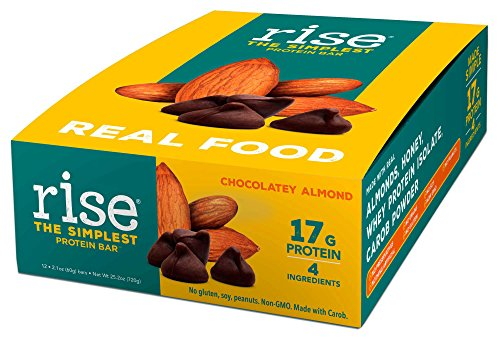 Rise Bar Non-GMO, Gluten Free, Soy Free, Real Whole Food, Whey Protein Bar (17g), No Added Sugar, Chocolatey Almond High Protein Bar with Fiber, Potassium, Vitamins & Nutrients 2.1oz, (12 (High Protein Meal Bar)