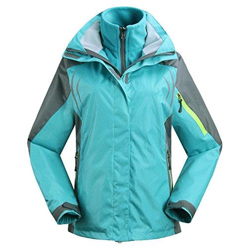 Baqijian Jacket Snowboarding Jackets, 3 In 1 Ski Jacket Fleece Liner Warm Coat - Windproof, Outdoor, Blue, Small ()