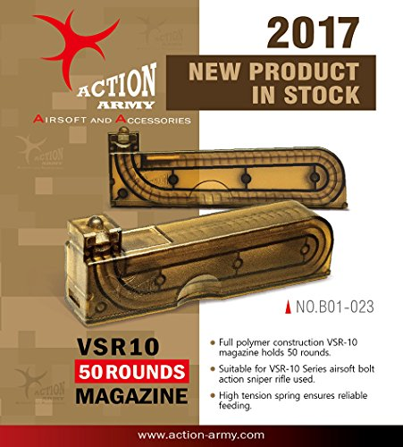 (Action Army B01-023 VSR10 50 Rounds Magazine for Tokyo Marui VSR-10 Well MB02 MB03 Airsoft Gun Made in Taiwan)