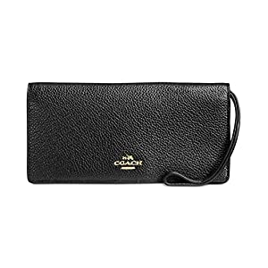 COACH Womens Pebbled Leather Slim Wallet