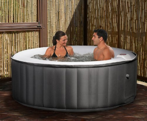 Swim Time Portable Inflatable Spa - Black/Gray
