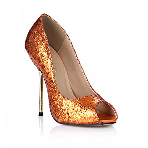 Peep Toe Club Pumps Stiletto Evening Party High Heels Women Dolphin Girl Cute Orange Glitter Prom Pub Cocktail D'Orsay Shoes SM00192 (Leather Dorsay Evening Shoes)