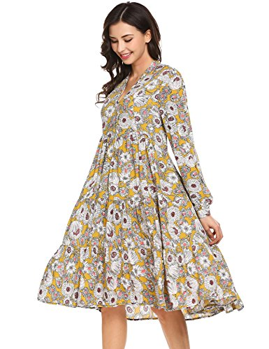 Bifast Women's Long Sleeve V Neck Pleated Floral Flare T-Shirt Dress (Print Maxi Tiered Dress)