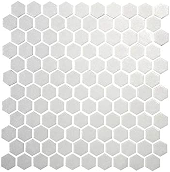 10.25 Inches X 11.8 Inches Renovators Supply Manufacturing White Matte Hexagon Grade A Porcelain Mosaic Floor Or Wall Mount Kitchen Or Bathroom Tile Sheet 1 Tile