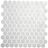 Hexagon White Porcelain Mosaic Tile Shiny Look 1x1 Inch