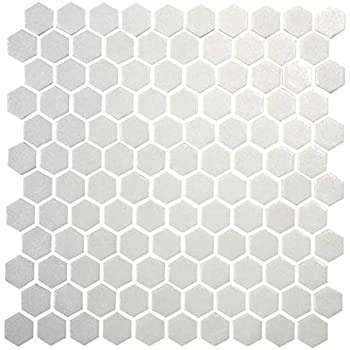 Daltile Hexagon White Porcelain Mosaic Tile Matte Look 1x1 Inch ...