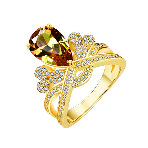 - Tingle Alexandrite Rings Fine Jewelry for Women Pear Changing Colors Gemstone Wedding Engagement Ring Sterling Silver Crown Diamond Style Ring (Pear 8x12 Yellow-Gold, 7)