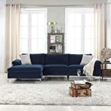 Modern Large Velvet Fabric Sectional Sofa, L-Shape Couch with Extra Wide Chaise Lounge (Navy)