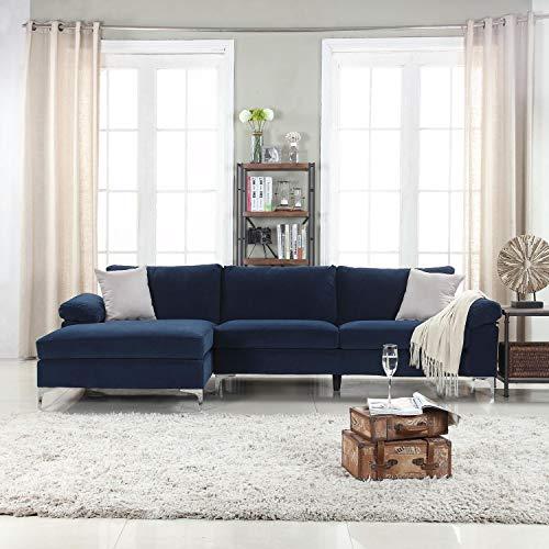 Amazon.com: Sofá moderno de terciopelo de gran tamaño en ...