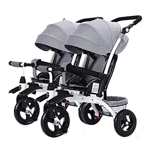 Baby Stroller YXGH@ Children's Double Tricycle Portable Two-Seater Sliding Baby Artifact Twin Foam Wheel