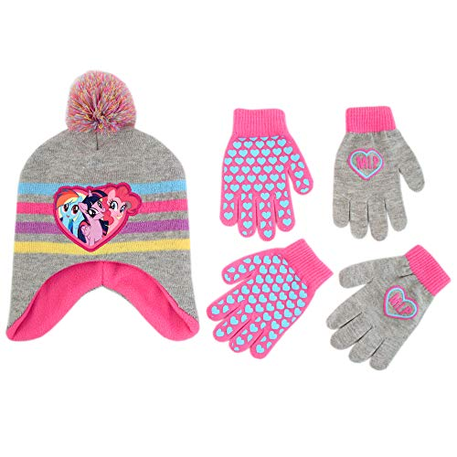Hasbro My Little Pony Hat and 2 Pair Gloves or Mittens Cold Weather Set, Little Girls, Age 2-7 (Grey, Pink Design - Age 4-7 - Gloves -