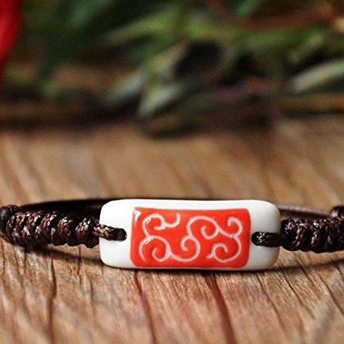 Ceramics Fig (FIG hand-carved auspicious red clouds Bracelet ceramic bracelet couple girlfriends)