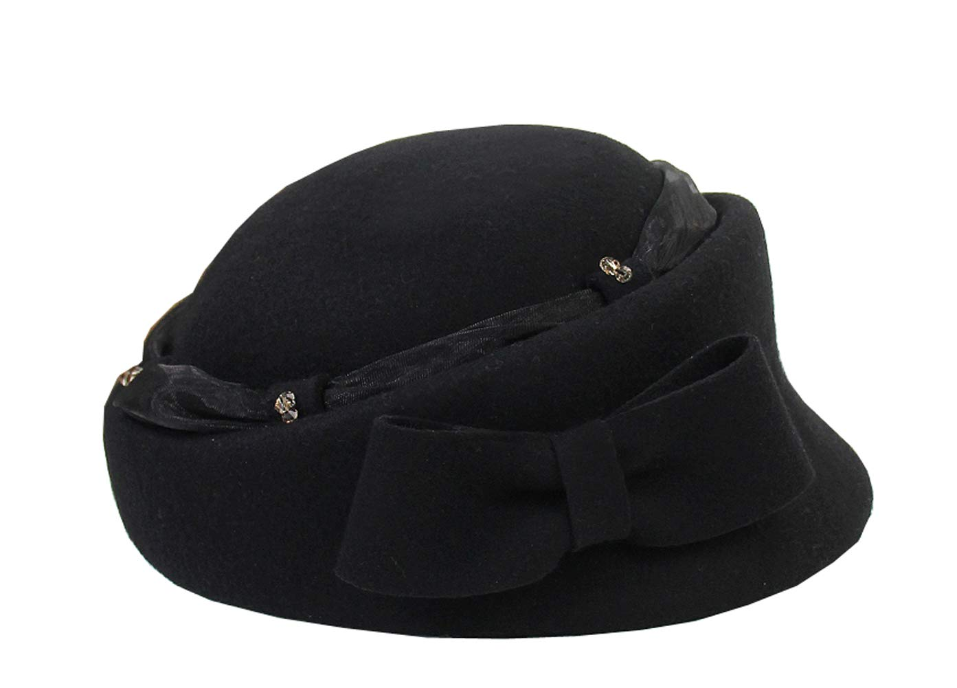 KM Women Elegant British Beret Hat Fashion Woolen Warm Round Top Cap for Outgoing Travel Holiday (Black) by KM hat