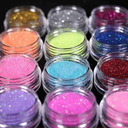 - Renexxt 12 Mix Color Random Nail Art Acrylic Glitter Dust Powder