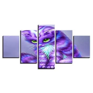 YCOLLC Decoración Salón Arte De La Pared Impresiones Modernas 5 Unidades Animal Púrpura Gatos Ojos Verdes Lienzo Pintura Modular Picture Poster: Amazon.es: ...