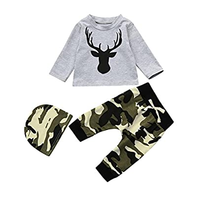 3Pcs/Set Newborn Baby Boy Deer Long Sleeve Tops Camouflage Pant Hat Outfits Clothes well-wreapped