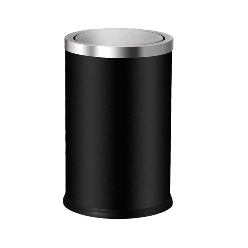 家庭用キッチンバスルームを揺するステンレススチール9Lゴミ箱 (色 : ブラック) B07D9J6S7S ブラック ブラック