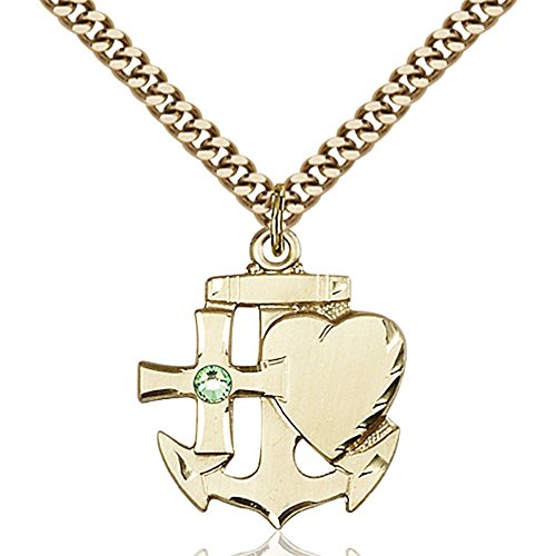 Gold Filled Faith Hope & Charity Pendant with 3mm August Green Swarovski Crystal 7/8 x 3/4 inches with Heavy Curb Chain by Bonyak Jewelry Saint Medal Collection