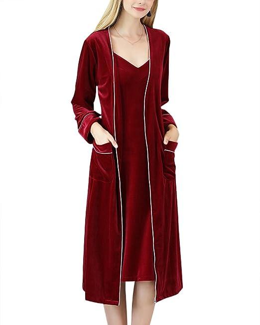 Set de 2 Piezas V Albornoz para Mujer Mañana Vestido Pijama Batas Kimonos Baño Casa: Amazon.es: Ropa y accesorios