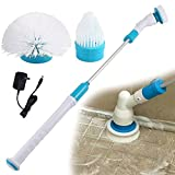 Electric Spin Scrubber Turbo Scrubber Powerful Cleaning Brush with Extension Handle for Bathroom Floor and Tiled Wall Tub Rechargeable Cordless Power Scrubber with 3 Replaceable Brush Heads Automatic