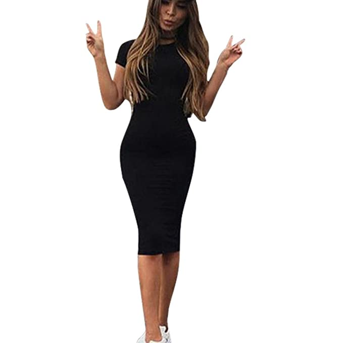 e79f0d24ec461 Bekleidung Longra Damen Mode solide Kurzarm Slim Dress Langarm T-Shirt- Kleider  Amazon.de  Bekleidung