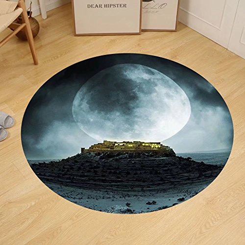 Gzhihine Custom round floor mat Night Sky Big Full Moon over a Fantasy Castle on Hill Clouds Rocks Valley View Bedroom Living Room Dorm Green Black Slate - Co Stores Rock Castle In
