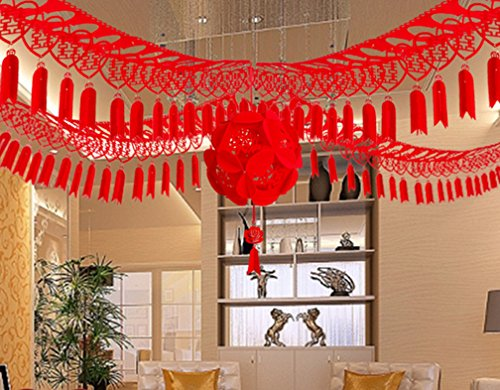 Skyseen Chinese Double Happiness Garlands Hanging Banner Bunting for Wedding Party Decoration,Style 2