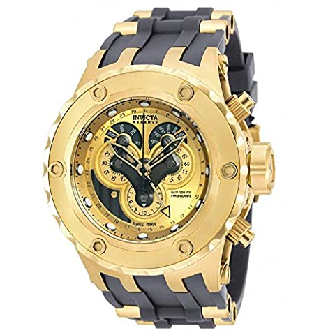 Invicta Excursion Reserve Chronograph Gold Dial Grey Polyurethane Gold Ion-plated Accents Mens Watch (Invicta Reserve Excursion Gold)