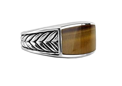 40a30a8f4981f David YURMAN Sterling Silver Narrow Chevron Tiger Eye Ring SZ 9 Box ...
