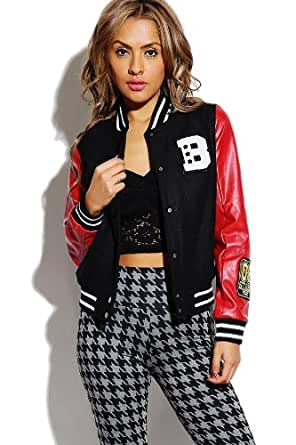 G2 Chic Women's Faux Leather Sleeve Colorblock Sporty Bomber Jacket(OW-JKT,RED-S)