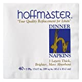 Hoffmaster 744000 Dinner Napkin, 3-Ply, 1/4 Fold, 17'' Length x 17'' Width, White (Case of 960)