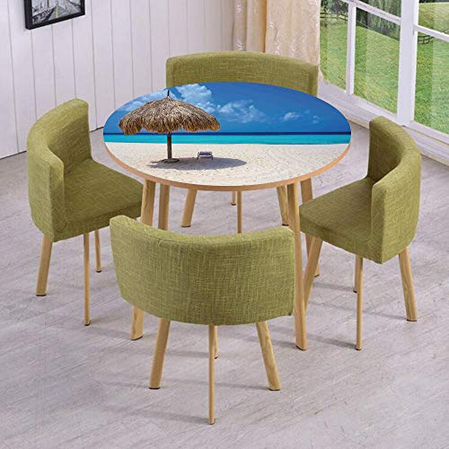 iPrint Round Table/Wall/Floor Decal Strikers,Removable,Parasol and Chair Sunny Day in Romantic Beach Caribbean Paradise Image,for Living Room,Kitchens,Office Decoration