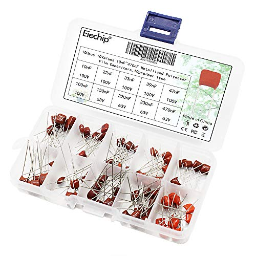 - Eiechip 100pcs/ lot 10nF~470nF Metallized Mylar Capacitor Classification Kit High Precision and Stability Sample 10nF 22nF 33nF 39nF 47nF 100nF 150nF 220nF 330nF 470nF