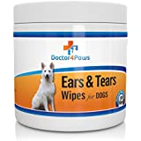 Doctor4Paws Ears & Tears Cleaning Wipes for Dogs - Natural Treatment for Ear Mites, Ear Infections & Tear Stains - 100 Premium Presoaked Bleach Free Cotton Pads