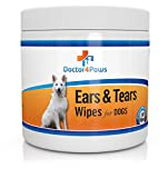 Ears & Tears Cleaning Wipes Dogs - Natural Treatment Ear Mites, Ear Infections & Tear Stains - 100 Premium Presoaked Bleach Free Cotton Pads