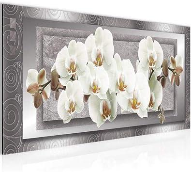Cuadro Orquídea de flores Decoración de Pared 100 x 40 cm Forro polar - decoración de Pared tamaño XXL Salón Apartamento impresiones Artísticas Blanco 1 partes - 100% MADE IN GERMANY - listo para colg